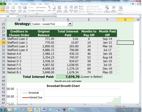 A Glimpse at my Debt Reduction Spreadsheet