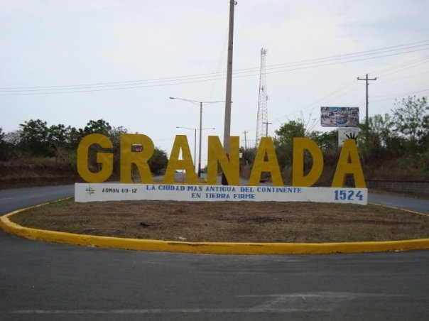 The famous sign - welcome to Granada, Nicaragua!