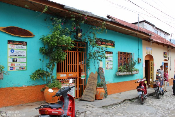 The entrance to Los Amigos Hostel in Flores, Guatemala