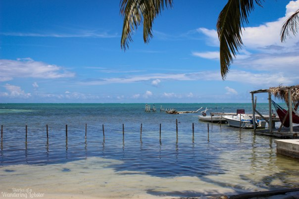 The beachfront on Caye Caulker