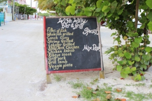 The Wish Willy menu