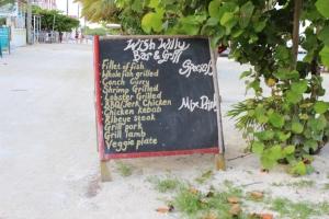 The Wish Willy menu