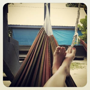 Relaxing in the hammock at Bella's